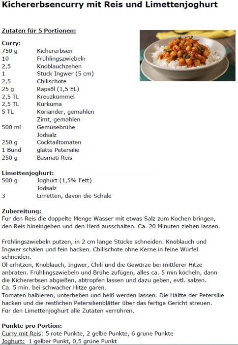 Kichererbsencurry mit Reis und Limettenjoghurt