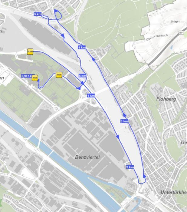 Streckenverlauf 25. Stuttgart-Lauf